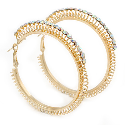 Gold Plated Wire with AB Crystal Hoop Earrings - 58mm D