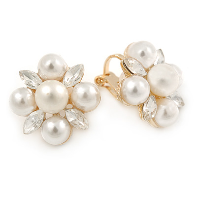 Cream Faux Pearl, Clear Crystal Clip On Earrings In Gold Tone Metal - 18mm