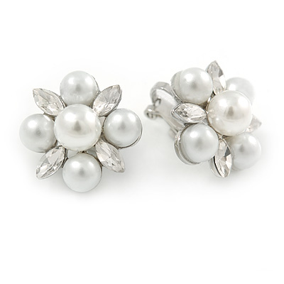 Cream Faux Pearl, Clear Crystal Clip On Earrings In Silver Tone Metal - 18mm