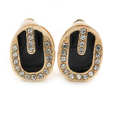 Oval Black Enamel Diamante Clip On Earrings In Gold Plated Metal - 17mm L