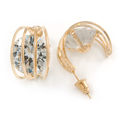 Clear CZ Half Hoop/ Creole Earrings In Gold Plating - 20mm
