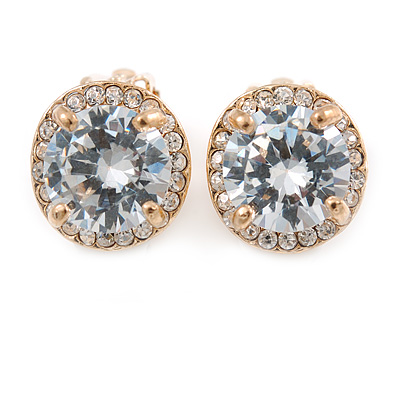 Clear Crystal Cz Round Clip On Earrings In Gold Plating - 13mm D