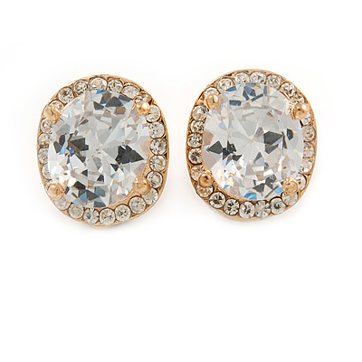 Clear Crystal Cz Oval Clip On Earrings In Gold Plating - 15mm