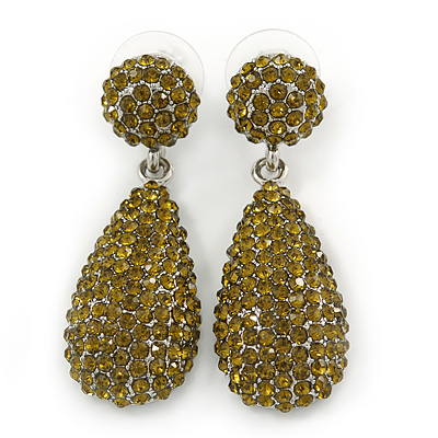 Bridal, Prom, Wedding Pave Olive Green Austrian Crystal Teardrop Earrings In Rhodium Plating - 48mm L - main view