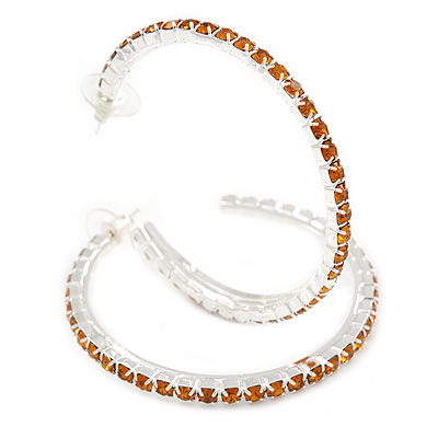 Large Topaz Austrian Crystal Hoop Earrings In Rhodium Plating - 6cm D - main view