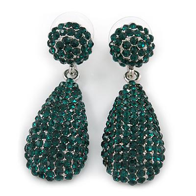 Bridal, Prom, Wedding Pave Emerald Green Austrian Crystal Teardrop Earrings In Rhodium Plating - 45mm L