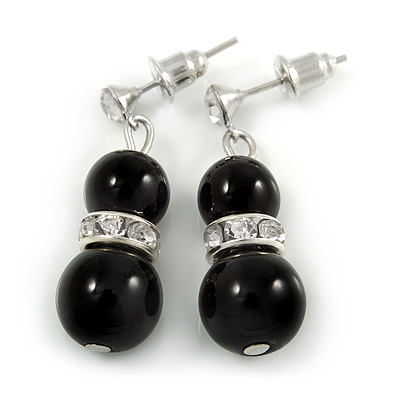 9mm Black Ceramic Bead With Crystal Ring Drop Earrings In Silver Tone - 30mm - main view