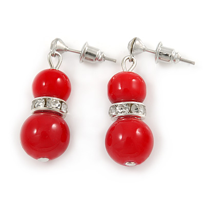 9mm Bright Red Ceramic Bead With Crystal Ring Drop Earrings In Silver Tone - 30mm - main view