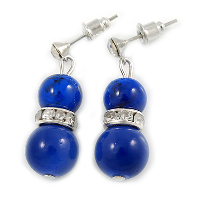 9mm Royal Blue Ceramic Bead With Crystal Ring Drop Earrings In Silver Tone - 30mm