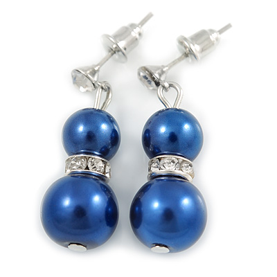 9mm Inky Blue Glass Pearl Bead With Crystal Ring Drop Earrings In Silver Tone - 30mm