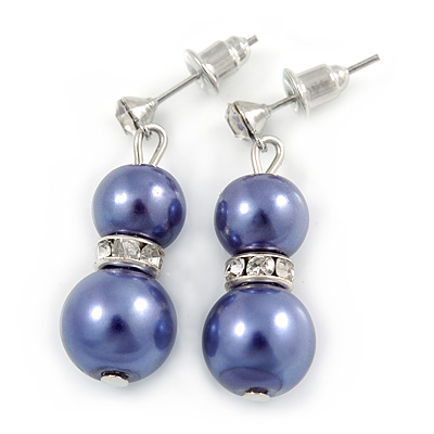9mm Purple Glass Pearl Bead With Crystal Ring Drop Earrings In Silver Tone - 30mm