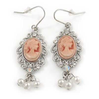 Vintage Inspired Light Pink Cameo with Pearl Bead Drop Earrings In Silver Tone - 50mm L