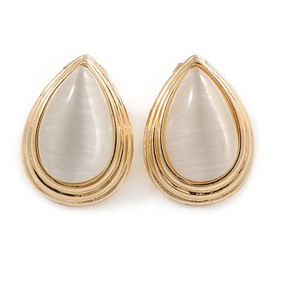 Gold Plated Cat Eye Stone Teardrop Clip On Earring - 22mm