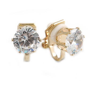 8mm Clear Round Cut Cz Clip On Earrings In Gold Tone
