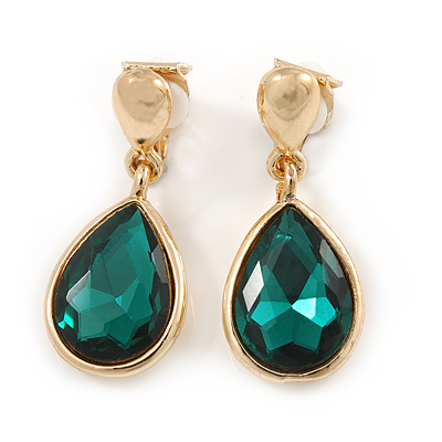 Gold Tone Teardrop Emerald Green Faceted Glass Stone Clip On Drop Earrings - 35mm L
