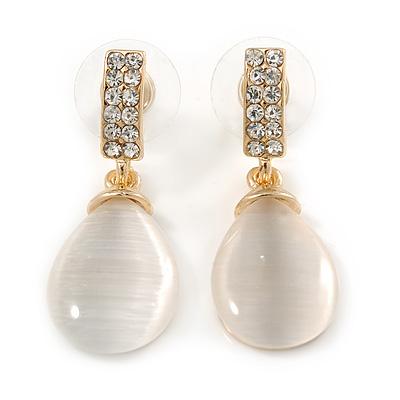 Gold Tone Clear Crystal Nude Cat Eye Stone Teardrop Earrings - 35mm L