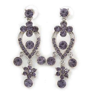 Lavender Amethyst Austrian Crystal Chandelier Earrings In Rhodium Plating - 60mm L