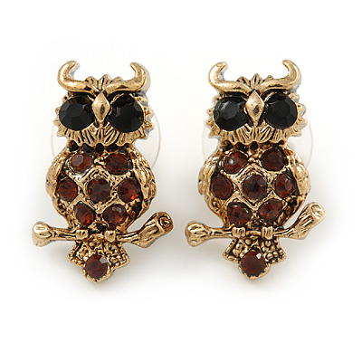 Small Amber Coloured Owl Stud Earrings In Gold Tone Metal - 23mm L