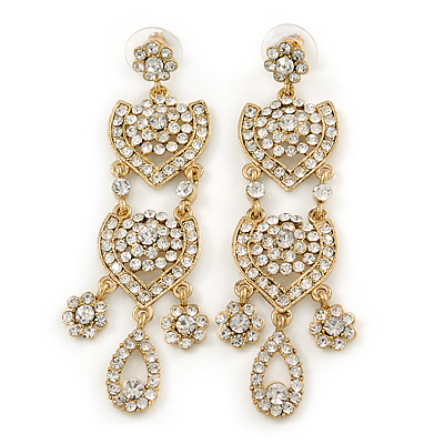 Divine Extravagance Clear Austrian Crystal Chandelier Earrings In Gold Tone - 80mm L