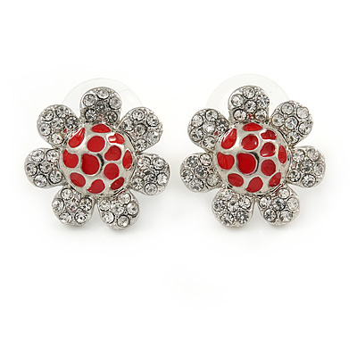 Clear Crystal, Red Enamel 'Sunflower' Floral Stud Earrings In Silver Tone - 20mm D - main view