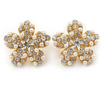 Clear Crystal, Faux Pearl Flower Stud Earrings In Gold Tone - 25mm Diameter - main view