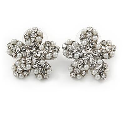 Clear Crystal, Faux Pearl Flower Stud Earrings In Silver Tone - 25mm Diameter - main view