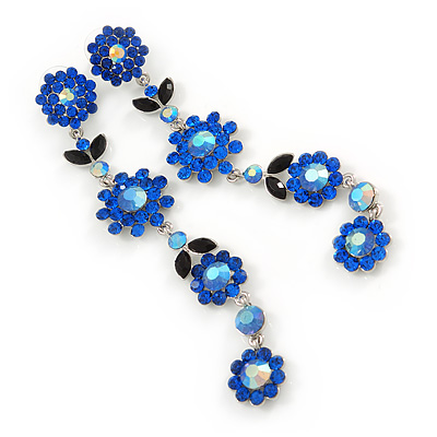 Long Statement Sapphire Blue/ Dark Blue Crystal Floral Drop Earrings In Rhodium Plating - 12cm L
