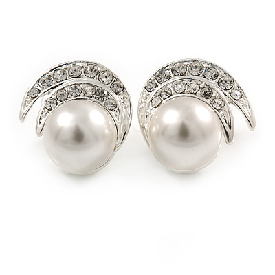 Bridal/ Prom/ Wedding Faux Glass Pearl, Crystal Fancy Stud Earrings In Silver Tone Metal - 20mm L