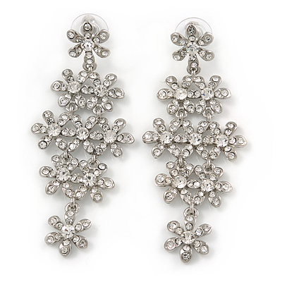 75mm Statement Clear Crystal Floral Chandelier Earrings In Rhodium Plating