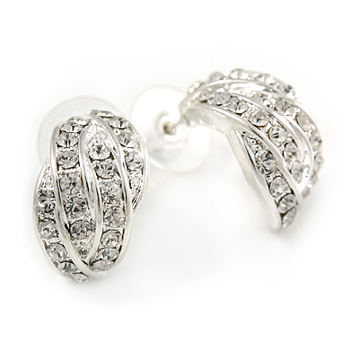 20mm C Shape Clear Crystal Leaf Drop Earrings In Rhodium Plating - main view