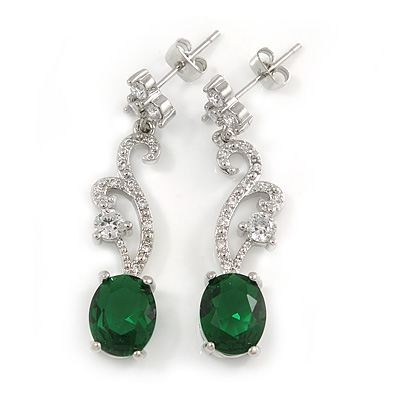 Delicate Clear/ Emerald Green Cz Oval Drop Earrings In Rhodium Plated Alloy - 35mm L