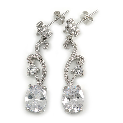 Delicate Clear Cz Oval Drop Earrings In Rhodium Plated Alloy - 35mm L