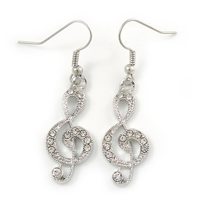 Clear Crystal Treble Clef Drop Earrings In Silver Tone Metal - 45mm L - main view
