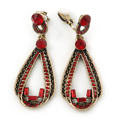 Vintage Inspired Long Red Crystal Loop Clip On Earrings In Antique Gold Tone - 60mm L