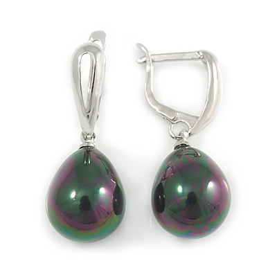 Peacock Polished Teardrop Shape Pearl Style Earrings In Rhodium Plated Alloy - 33mm L