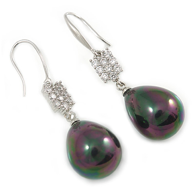 Clear CZ Peacock Black Teardrop Pearl Style Earrings 925 Sterling Silver - 40mm L