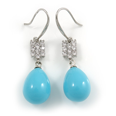Light Blue Ceramic Teardrop Bead Clear CZ Drop Earrings 925 Sterling Silver - 40mm L