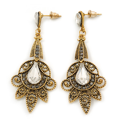 Vintage Inspired Filigree Clear/ Hematite Crystal Chandelier Earrings In Aged Gold Tone - 63mm L - main view