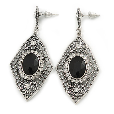 Art Deco Clear/ Black Crystal Drop Earrings In Silver Tone Metal - 65mm L
