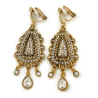 Vintage Inspired Chandelier Clear Crystal Clip On Earrings In Aged Gold Tone - 65mm L - main view