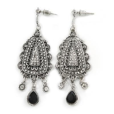 Vintage Inspired Crystal Chandelier Earrings In Silver Tone - 65mm L
