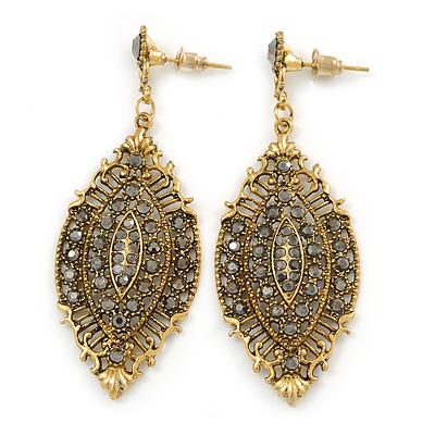 Vintage Inspired Crystal Filigree Leaf Drop  Earrings In Aged Gold Tone - 65mm L