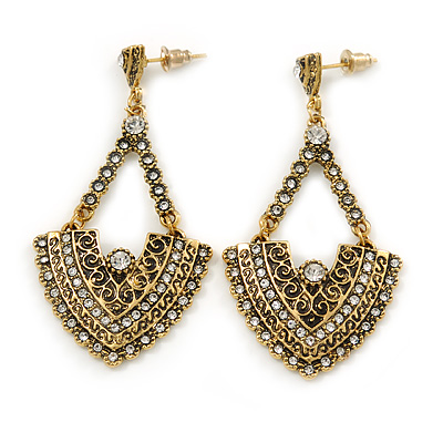 Vintage Inspired Chandelier Crystal Earrings In Aged Gold Tone - 60mm L - main view