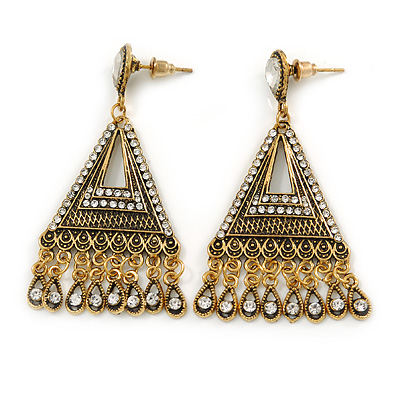 Vintage Inspired Chandelier Crystal Filigree Earrings In Aged Gold Tone - 60mm L - main view