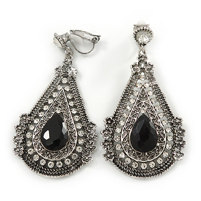 Vintage Inspired Teardrop Crystal Clip On Earrings In Aged Silver Tone - 60mm L