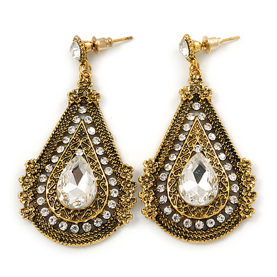 Vintage Inspired Teardrop Crystal Dangle Earrings In Aged Gold Tone - 60mm L - main view