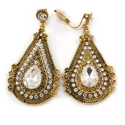 Vintage Inspired Teardrop Crystal Clip On Earrings In Aged Gold Tone - 60mm L