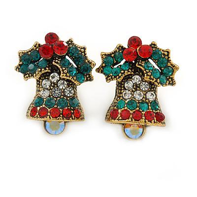 Vintage Inspired Christmas 'Jingle Bells' Crystal Stud Earrings In Aged Gold Tone Metal - 20mm L