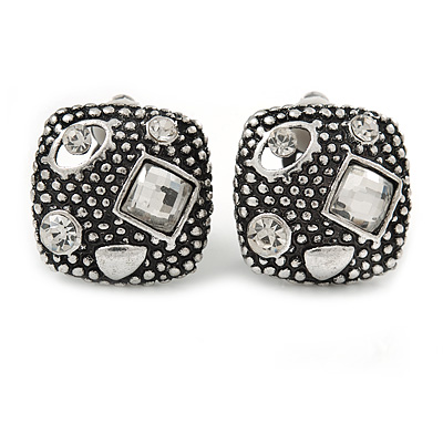 Vintage Inspired Crystal Square Stud Clip On Earrings In Aged Silver Tone - 20mm L - main view
