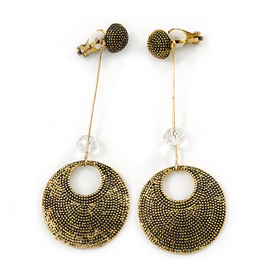 Long Vintage Inspired Textured Disk Metal Bar Clip On Earrings In Aged Gold Tone - 80mm L